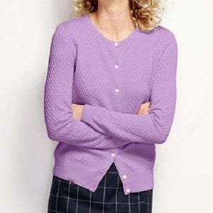 Lands End Supima Textured Cardigan Sweater Lilac